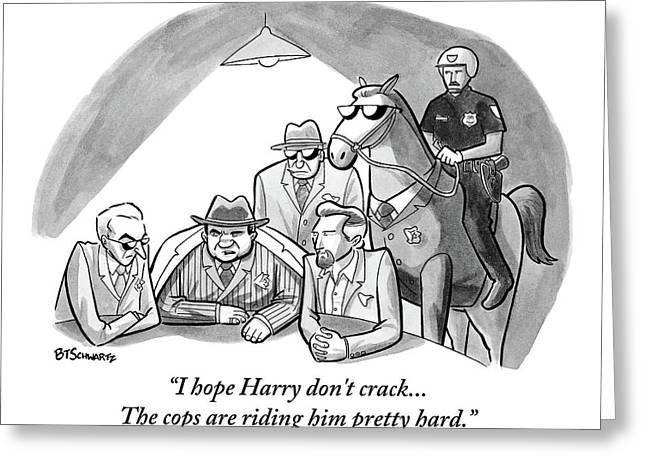 A Mob Boss And Goons Sit Around A Table Greeting Card by Benjamin Schwartz