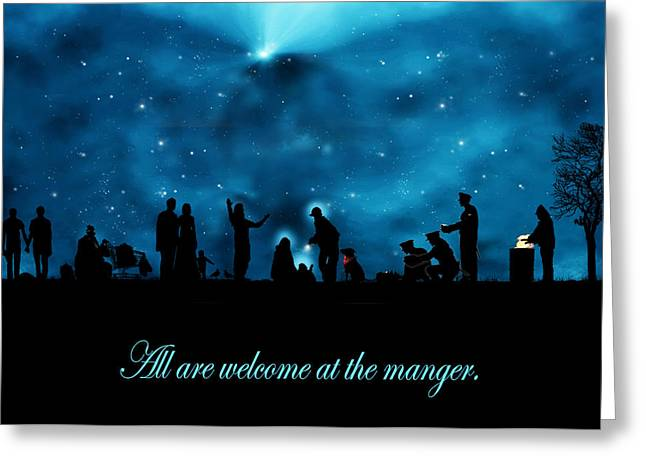 Recently Sold -  - Police Christmas Card Greeting Cards - A Modern Nativity Scene Greeting Card by Julie Rodriguez Jones