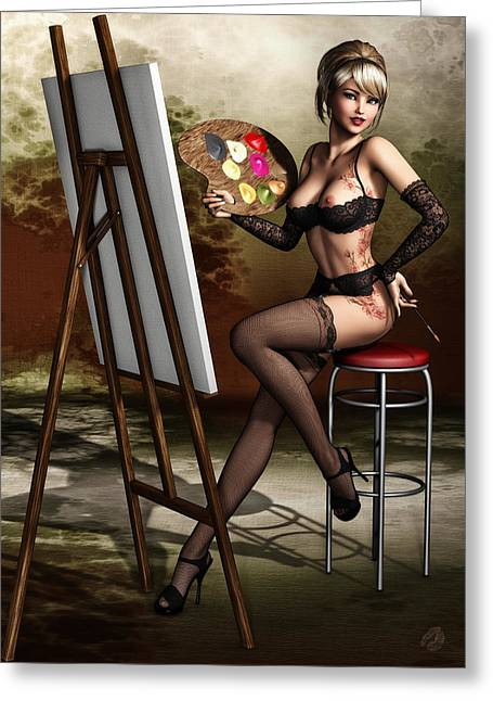 Vintage Painter Greeting Cards - A Modern Pin-up Greeting Card by Todd and candice Dailey