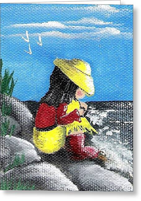 Little Red River Paintings Greeting Cards - A Moment Greeting Card by Diane Palmer