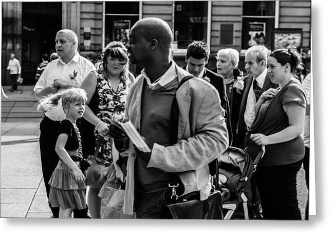 Race Relations Greeting Cards - A Moment in Old Market Square Greeting Card by Paul Donohoe