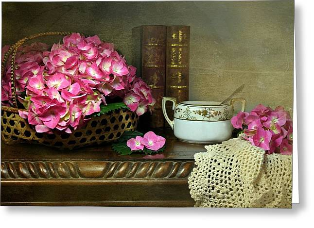 Basket Of Flowers Greeting Cards - A Moment in Pink Greeting Card by Diana Angstadt