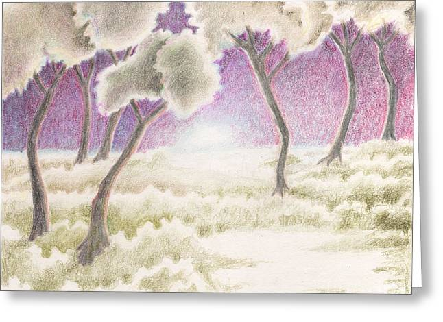 Surreal Landscape Drawings Greeting Cards - A Moment In Time Greeting Card by Suzette Broad