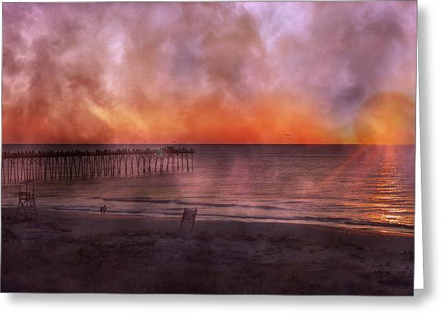 Foggy Beach Greeting Cards - A Moment Inspired Together Greeting Card by Betsy C  Knapp