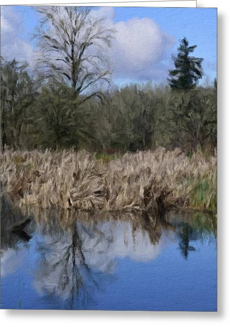 Water Garden Mixed Media Greeting Cards - A Moment of Reflection Greeting Card by Bonnie Bruno