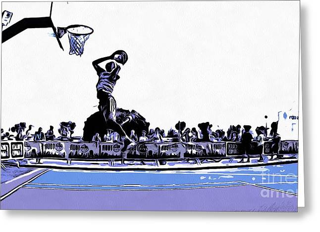 Basket Ball Game Digital Art Greeting Cards - A moment till the goal Greeting Card by Magomed Magomedagaev