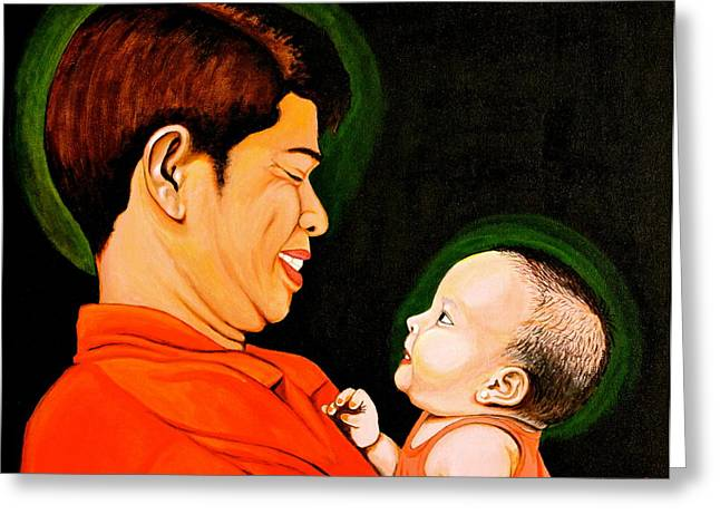 Cyril Maza Greeting Cards - A Moment with Dad Greeting Card by Cyril Maza