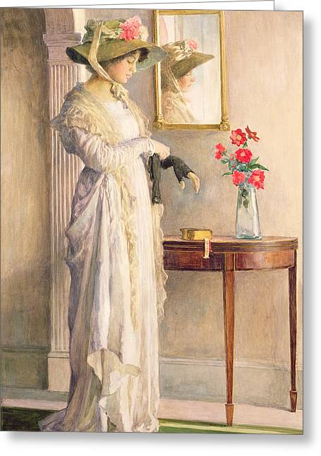 Console Greeting Cards - A Moments Reflection Greeting Card by William Henry Margetson