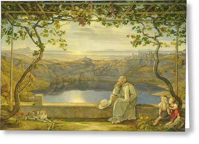 Lights Reflecting On Water Greeting Cards - A Monk on a Terrace at the Nemi Lake Greeting Card by Joachim Faber