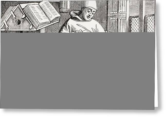 Copying Greeting Cards - A Monk Scribe Surrounded By Manuscripts And Books At His Desk, After A 15th Century Work, From Les Greeting Card by French School