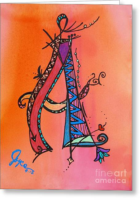 Angel Mermaids Ocean Greeting Cards - A Monogram Greeting Card by Joyce Auteri