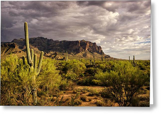 The Supes Greeting Cards - A Monsoonal Evening at the Superstitions  Greeting Card by Saija  Lehtonen