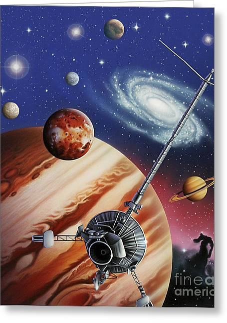 Interstellar Travel Greeting Cards - A Montage Of The Universe Featuring Greeting Card by Jerry LoFaro