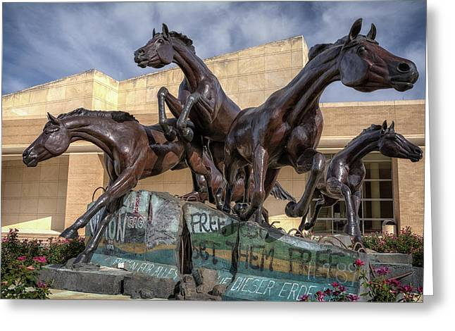 Concrete Sculpture Greeting Cards - A Monument to Freedom Greeting Card by Joan Carroll