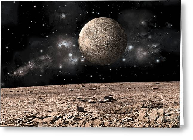 A Moon Rises Over A Rocky And Barren Greeting Card by Marc Ward