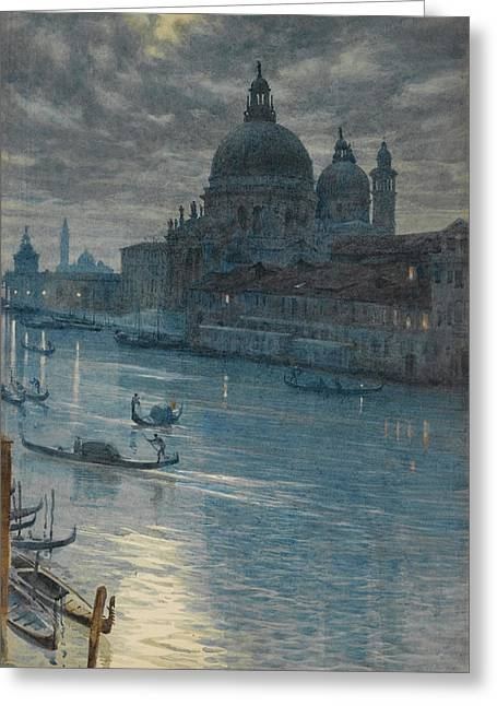 Moonlight Scene Greeting Cards - A Moonlight Scene. Venice Greeting Card by Edward John Poynter