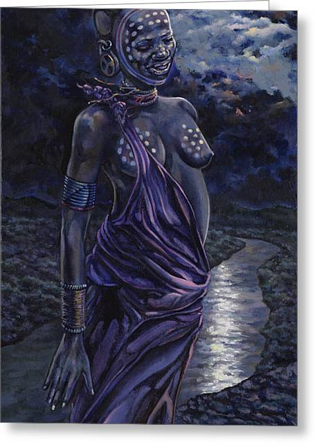 African Woman Greeting Cards - A Moonlit Moment Greeting Card by Dennis Goff