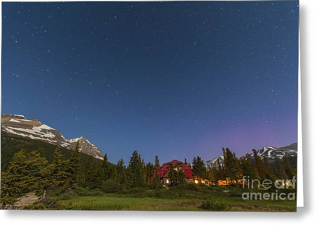 Log Cabins Greeting Cards - A Moonlit Nightscape Taken In Banff Greeting Card by Alan Dyer