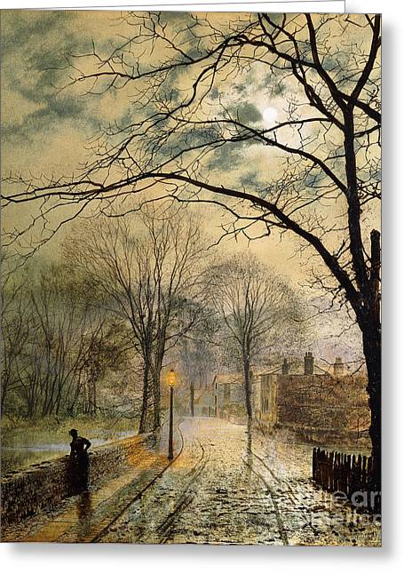 Night Lamp Greeting Cards - A Moonlit Stroll Bonchurch Isle of Wight Greeting Card by John Atkinson Grimshaw