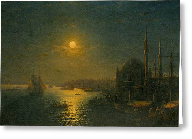 Moonlit Night Greeting Cards - A Moonlit View of the Bosphorus Greeting Card by Ivan Constantinovich Aivazovsky