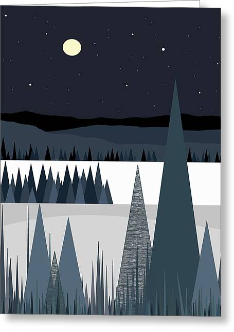 Snow And Night Sky Greeting Cards - A Moonlit Winter Night Greeting Card by Val Arie