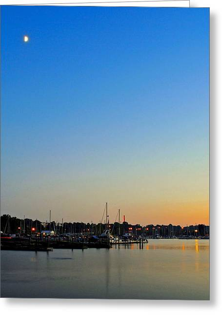 Fishing Creek Greeting Cards - A Moonrise Sunset Greeting Card by Frozen in Time Fine Art Photography