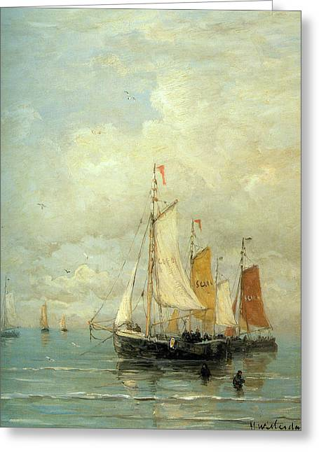 Sailboat Ocean Greeting Cards - A Moored Fishing Fleet Greeting Card by Hendrik Mesdag Willem