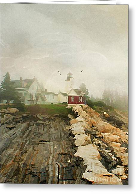 Foggy Ocean Greeting Cards - A Morning in Maine Greeting Card by Darren Fisher