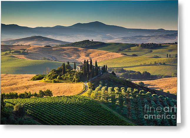 Italian Sunset Greeting Cards - A Morning in Tuscany Greeting Card by JR Photography