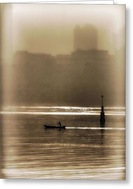 Canoe Greeting Cards - A Morning Paddle Greeting Card by Henry Kowalski