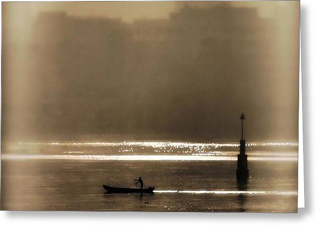 A Morning Paddle Greeting Card by Henry Kowalski