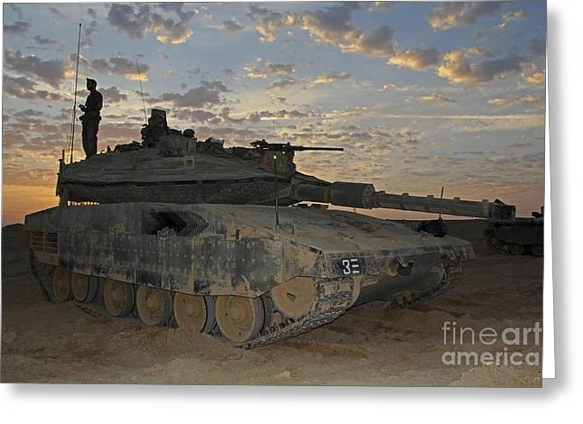 Battletank Greeting Cards - A Morning Prayer On An Israel Defense Greeting Card by Ofer Zidon
