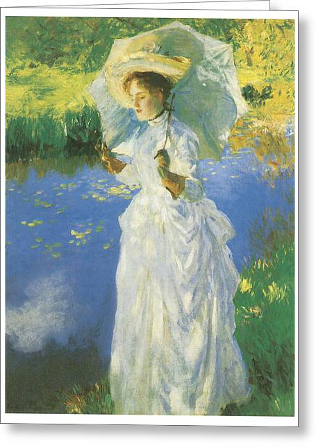 Woman In A Dress Greeting Cards - A Morning Walk Greeting Card by John Singer Sargent