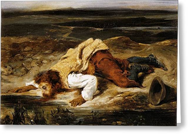 Mortally Wounded Greeting Cards - A Mortally Wounded Brigand Quenches his Thirst Greeting Card by Eugene Delacroix