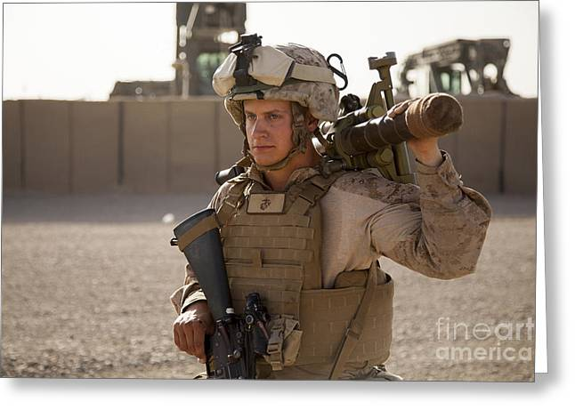 Nato Greeting Cards - A Mortarman With The U.s. Marines Greeting Card by Stocktrek Images