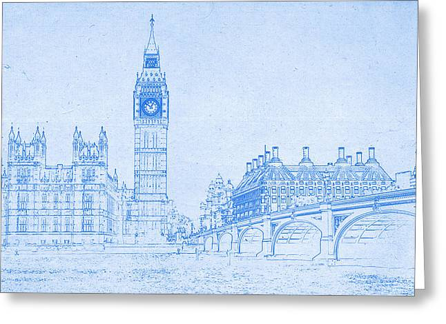 Bravery Mixed Media Greeting Cards - Big Ben in London  - BluePrint Drawing Greeting Card by MotionAge Designs