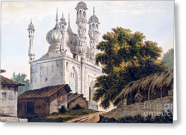 Indian Drawings Greeting Cards - A Mosque at Gazipoor Greeting Card by William Hodges