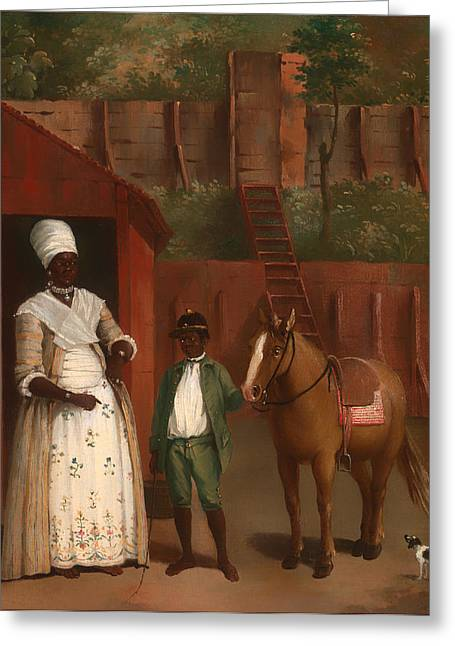 African-american Paintings Greeting Cards - A Mother with her Son and Pony Greeting Card by Agostino Brunias