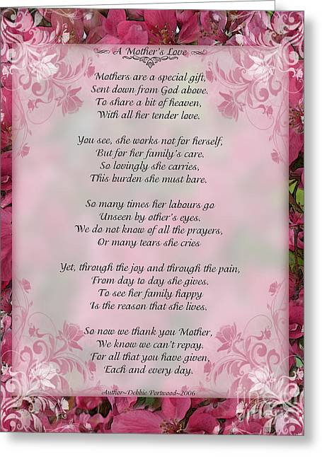 Debbie Portwood Greeting Cards - A Mothers Love  8x10 format Greeting Card by Debbie Portwood