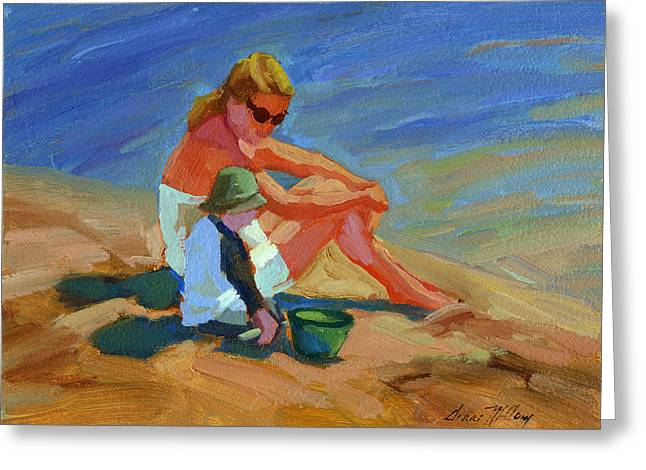 Lake Paintings Greeting Cards - A Mothers Love Greeting Card by Diane McClary