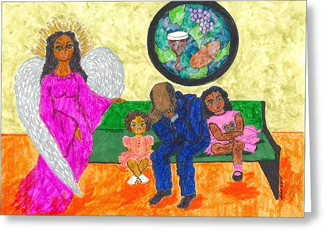 African American Art Drawings Greeting Cards - A Mothers Love Is Never Ending Greeting Card by Stacey Torres