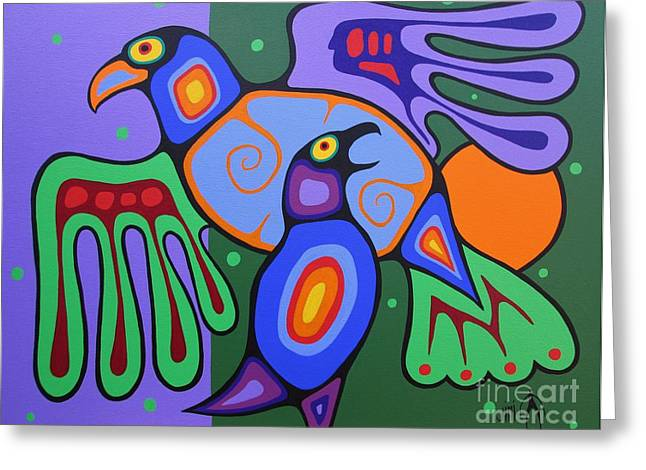 Shaman Art Greeting Cards - A Mothers Love Greeting Card by Jim Oskineegish