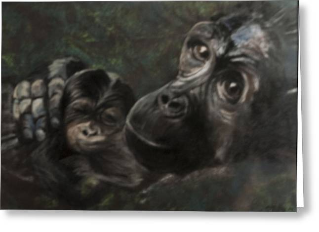 Chimpanzee Pastels Greeting Cards - A Mothers Love Greeting Card by Michaela Miller