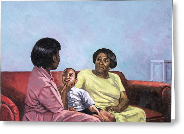 Family Portrait Greeting Cards - A Mothers Strength Greeting Card by Colin Bootman