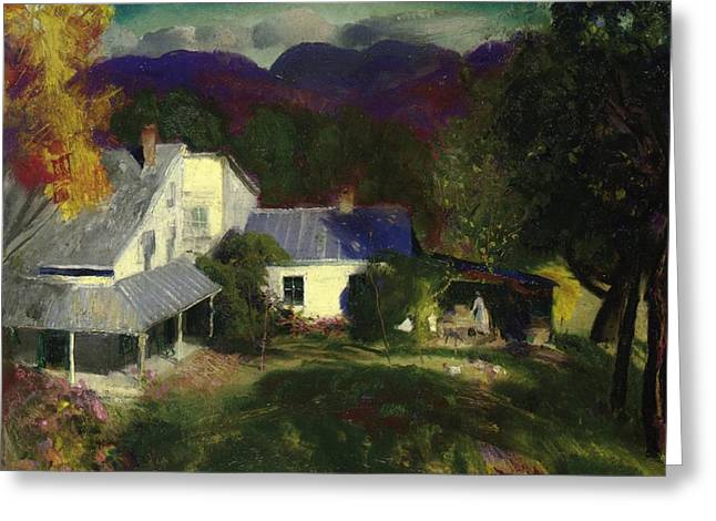 In The Distance Greeting Cards - A Mountain Farm Greeting Card by George Wesley Bellows