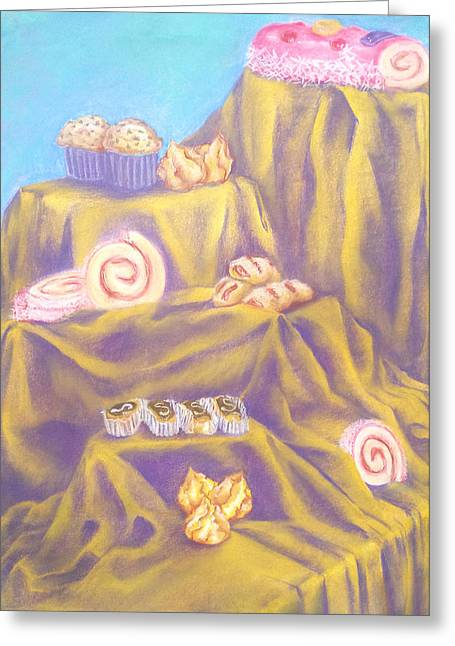 Purple Mountains Drawing Greeting Cards - A Mountain Of Delight Greeting Card by Rocio Fernandez
