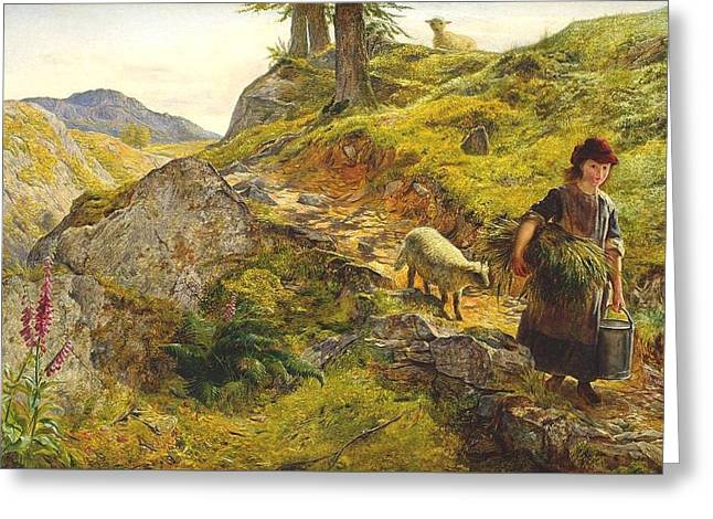 A Mountain Path At Capel Curig Wales Greeting Card by Ebenezer Newman Downard