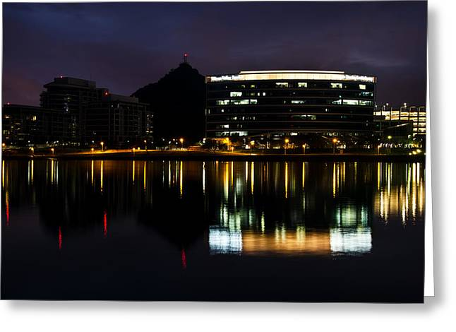 Asu Greeting Cards - A- Mountain Reflection in Tempe Town Lake Greeting Card by Dave Dilli