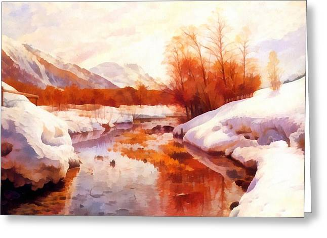 Snow-covered Landscape Digital Greeting Cards - A Mountain Torrent In A Winter Landscape Greeting Card by Peder Mork Monsted