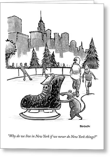 A Mouse Pushes Another Mouse In A Large Ice Skate Greeting Card by Corey Pandolph